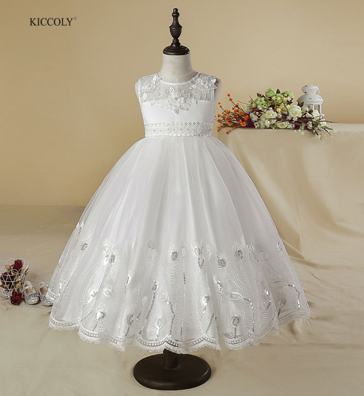 KICCOLY 2018 Summer White Sequin Hem Girls Dress Children's Party Princess Baby Kids Wedding Dresses Prom Applique Clothing4-14Y embroidered sequin patch ruffle hem dress page 6