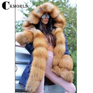 Image 3 - CKMORLS 2018 New Natural Fox Fur Jackets For Women Fur Parkas Casual Streetwear Harajuku Goth Long Coat Plus Size Long Fur Parka