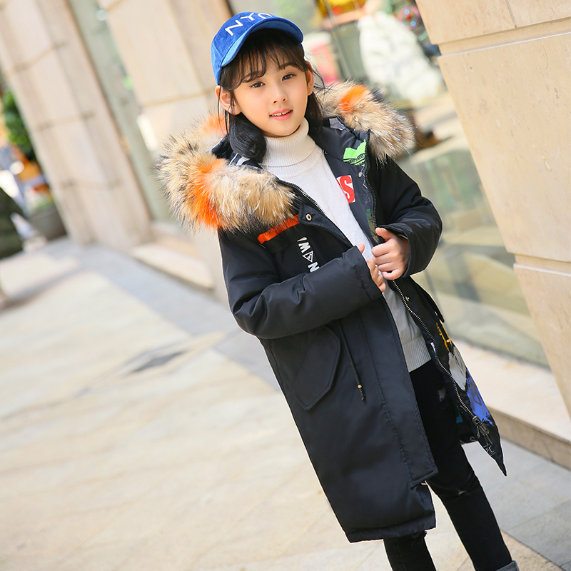 Children Winter Down Jacket Girls Long Coat 2018 Hot boys Down Jacket Thick Windproof Dual-use Children Clothes 4 6 8 10 12 year 2017 children winter clothes boys and girls down jacket long 90