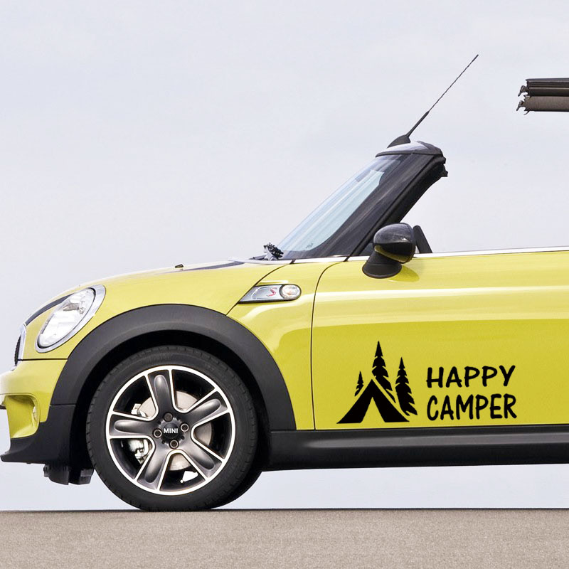 Hot Sale Happy Camper Camping Vinyl Graphics Decals Sticker For Car Truck jdm