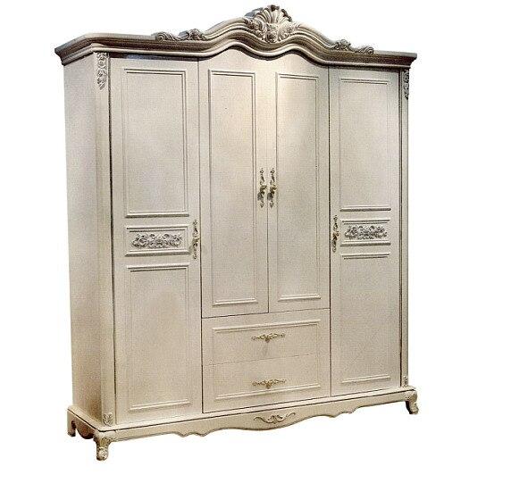 Meubles de maison de chambre à coucher de garde-robe 4 portes matériaux en bois solides néoclaasical peuvent être couleur adaptée aux besoins du client