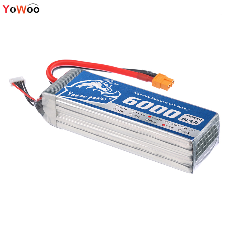 2PCS YOWOO POWER 14.8v 4s Lipo Battery 6000mah RC Bateria 50c Max 100c For Rc Airplane Boat Car Helicopter Quadcopter 2pcs hrb rc lipo 3s battery 11 1v 3000mah 35c max 70c drone akku for rc bateria helicopter airplane car boat quadcopter uav fpv