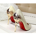 9 Color Sexy Carved Metal Flower Heels Women Pumps  Suede Leather 10cm High Heels Stiletto Woman Party Shoes