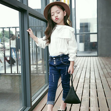 New style white Bow baby girl shirt O-Neck Collar Full Sleeve Casual Kids  Blouse Camisa Slim Fit Chemise Kids Childhood Shirts
