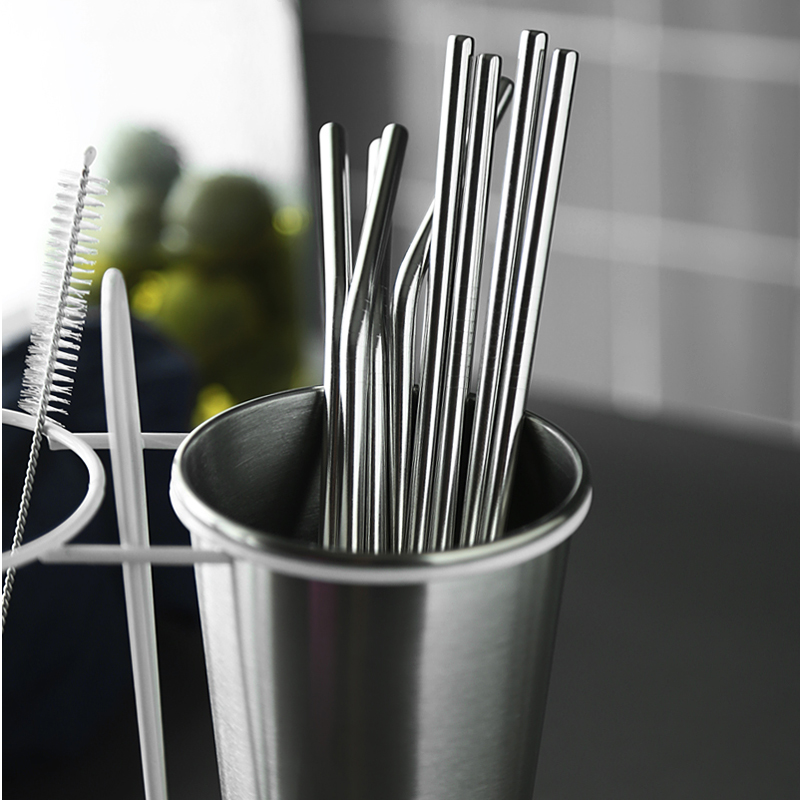 Reusable Bent Straight Stainless Steel Straws Cleaning Brush Cocktail Juice Soda Drinking Straws Metal Straws for 20Oz Rambler Tumblers Bar Accessories (10)