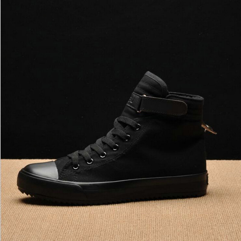 Men Women Classic Breathable Canvas high Top <font><b>Skateboarding</b></font> <font><b>Shoes</b></font> <font><b>Unisex</b></font> Sneakers Sport <font><b>shoes</b></font> all Black White HA-72 image