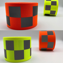 50mm width Fluorescent yellow/Fluorescent orange Oxford Warning Tape with Small Square  for Safety Clothes