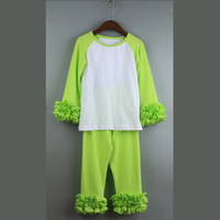 lime green school outfit ruffle raglan shirts and pant sets