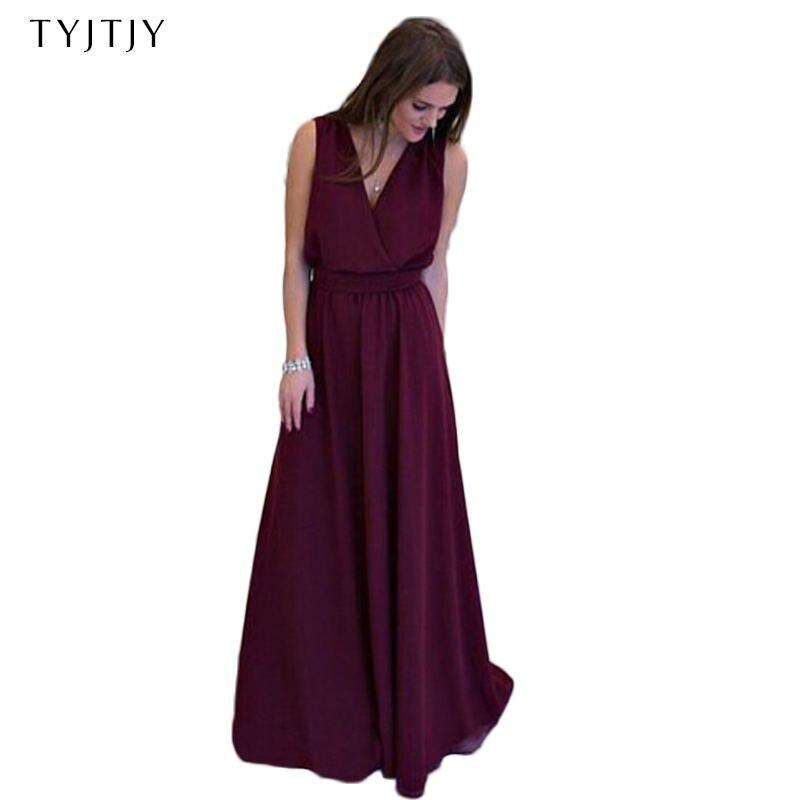TYJTJY Summer Women dress Sexy Long Party Dresses 2018 Sleeveless Elegant Casual Pleated Chiffon Maxi Dress S-XXL