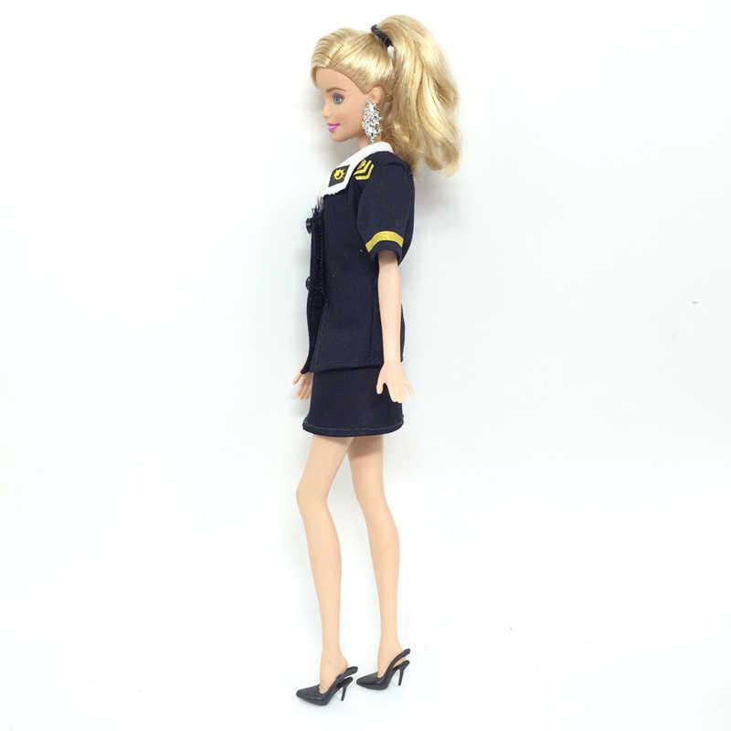 125d52da0d2 ... 6 Pcs / 3 set Barbie Clothes High Quality Fashion Handmade Stewardess  Uniform For Barbie Girls ...