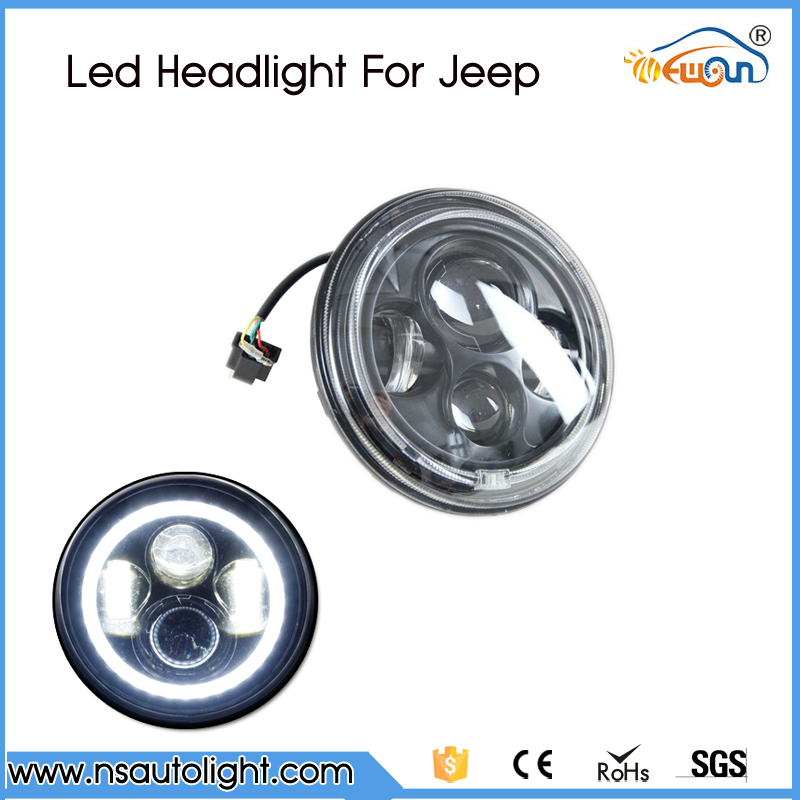 1 Pair 7'' LED Headlight For Jeep Wrangler JK TJ LJ 7 inch H4 Hi-lo Beam Front Driving Headlamp Styling with DRL Angel eyes for jeep wrangler jk anti rust hard steel front