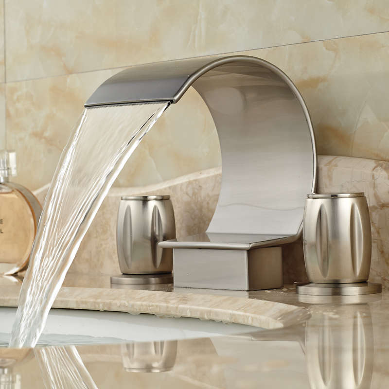 Brushed Nickel Waterfall Spout Bathroom Sink Basin Faucet Deck Mount 3 Holes Mixer Taps brushed nickel deck mount waterfall basin mixer dual handle 3 holes bathroom faucet