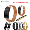 Magnetic Milanese Loop WatchBand Stainless Steel Metal Watch Band Strap For Samsung Gear Fit2 SM-R360 Smart Watch with Connector
