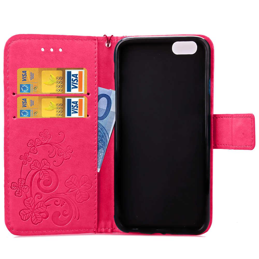 Funda Clover Book Style Dompet Kasus Untuk Samsung Galaxy Inti Perdana G360 G360H G360F G361 G361F G361H SM-G361H SM-G360H SM-G361F