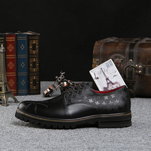 Personalized men fashion business dress black shoes Qshoes cowhide carved star leather mens casual gold borders sole shoe ke1027
