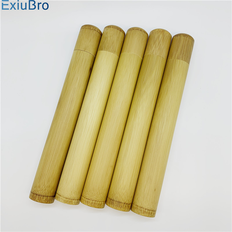 Natural Bamboo Toothbrush Travel Case Reusable Bamboo Portable Travel Holder Set Washable BPA Free Bamboo Case