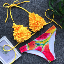 купить Sexy 3D Flower Lace up Bikini 2019 Bandeau Swimsuit Women Swimwear Female Two-pieces Bikini Set Push Up Bathing Suit Swim Lady по цене 756.98 рублей