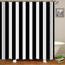 Extra Long Shower Curtain Stripe Design Polyester Fabric Bathroom Curtains Black And White