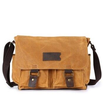 M146 British Waterproof Male Bag Oil Wax Canvas Men Messenger Bags Vintage Shoulder Bag Crazy Horse Leather Travel School Bags
