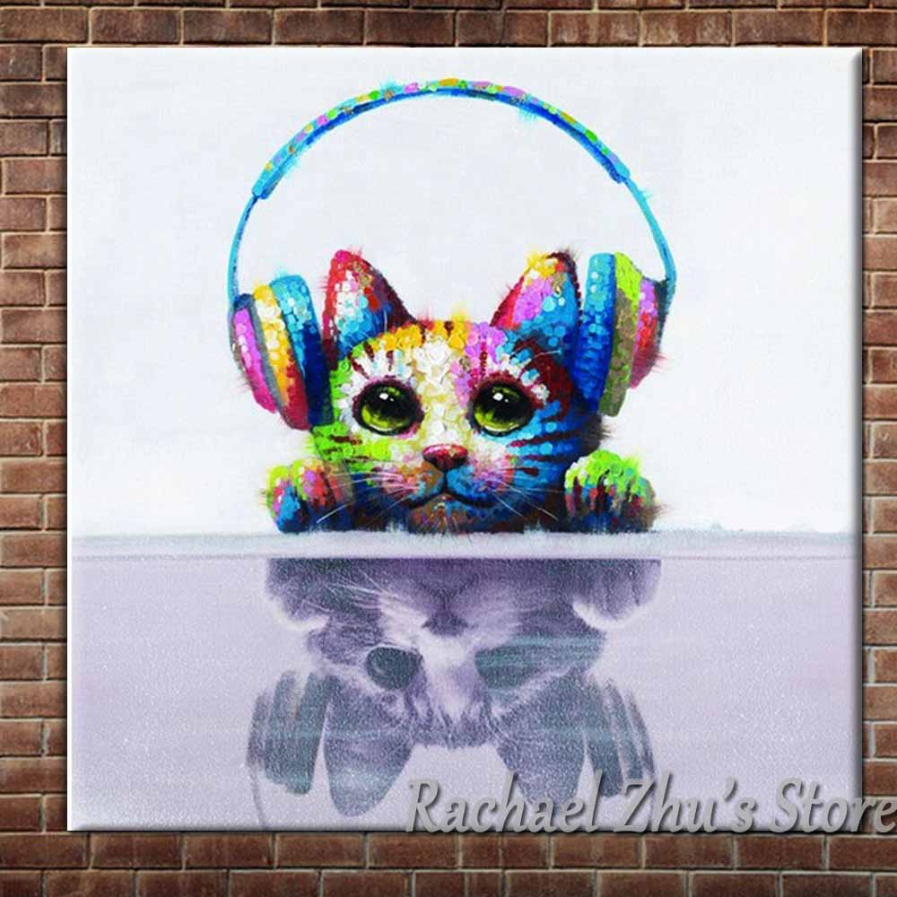 Hand Painted Lovely Cartoon Cat Oil Paintings On Canvas Cat Leason Music Wall Pictures Childrens Room Wall Decor Christmas Gift