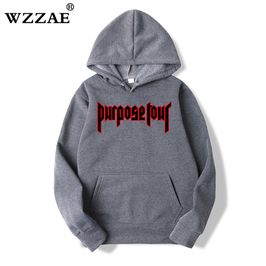 WZZAE Justin Bieber Hip Hop Skateboard Men Hoodie Justin Bieber Purpose Tour Trasher Men Hoodies & Sweatshirts 2018 New Arrive
