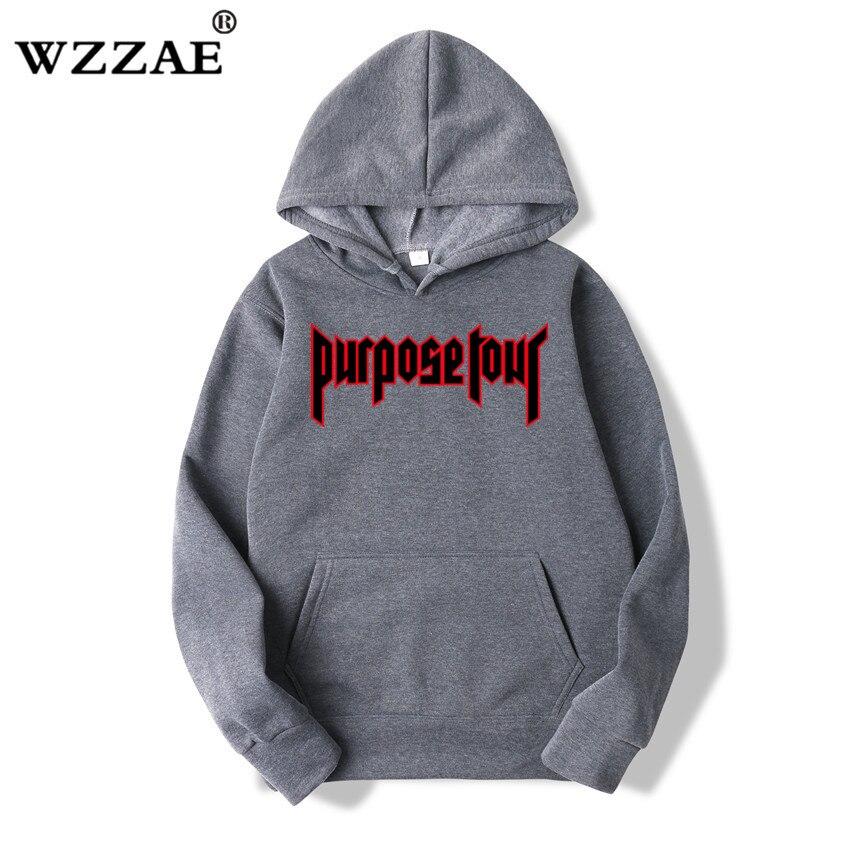 WZZAE Justin Bieber Hip Hop Skateboard Men Hoodie Justin Bieber Purpose Tour Trasher Men Hoodies & Sweatshirts 2020 New Arrive