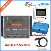 60amp מתח אוטומטי PWM 12 v 24 v VS6024BN EPEVER רגולטור בקר טעינה סולארית כבל USB wifi BOX MT50 מטר