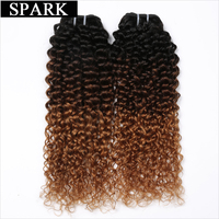 Spark Haar 1 ST Ombre Braziliaanse Kinky Krullend Weave Menselijk Haar bundels T1B/4/30 3 Tone Ombre niet Remy Hair Extensions Geen Verlies