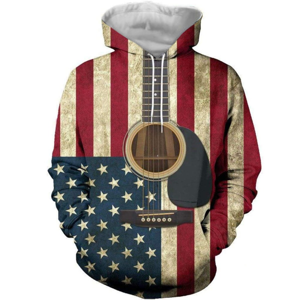 Women Men 3D Print Hoodies Pullover Sweatshirts Rock Style Guitar Plus Size tops