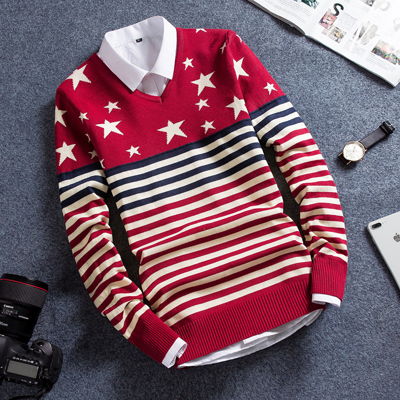 Trend Long Sleeve Men's Crew Neck Korean Version Of Slim Autumn And Winter Sweater Men Sweater 2019