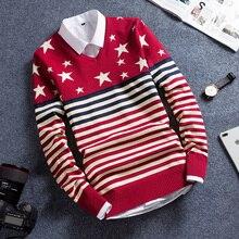 trend long sleeve men's crew neck Korean version of slim autumn and winter Sweater Men Sweater 2019 цены