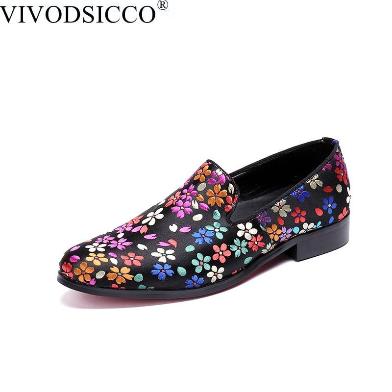 VIVODSICCO New Fashion Floral Men Dress Shoes for Party Wedding Slip on Men  Loafers Casual Shoes ba7c5d2609dd