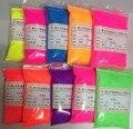 Color de la mezcla polvo fluorescente, pigmento fluorescente de color muestras : rosa, naranja, púrpura, azul, amarillo, rojo, etc