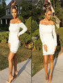 New Arrival White Long Sleeve Mini Sex Cocktail Dress Crystal Above Knee Length Offer Shoulder Lace Custom Made Party Dress