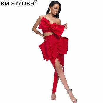 Top Senza Spalline Rosso   Nuove Donne Elegante A Due Pezzi Set Petto Sexy Del Tubo Dell'arco Top Vita Top + Arco Irregolare Pannello Esterno Di Scarsità Nero Vestito Rosso