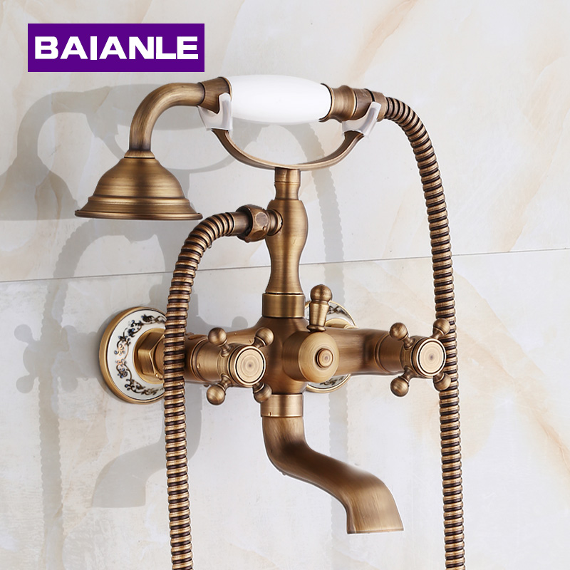 New arrival In-Wall  Shower Faucets with ceramic Mixer Tap Antique Brass Bath Shower Faucet Set bathtub faucet