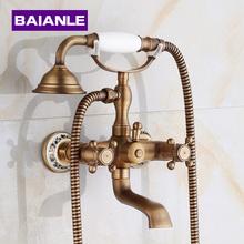 Nova chegada Em-Parede Do Chuveiro Torneiras com cerâmica Torneira Misturadora de Bronze Antigo Banheiro Chuveiro Set Torneira Da banheira torneira(China (Mainland))