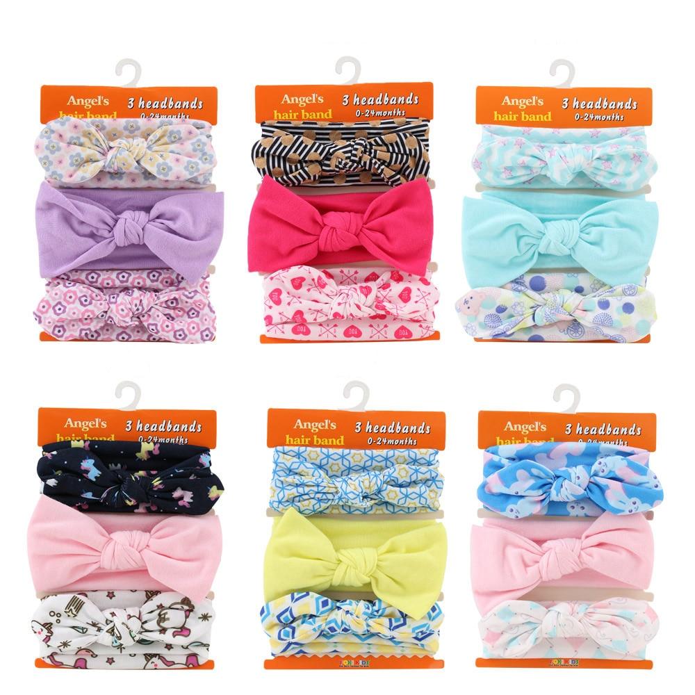 3Pcs Set DIY Rabbit Ear Child Kids Girls Cute Headband Princess Bowknot Flower Headwear Hairband Hair