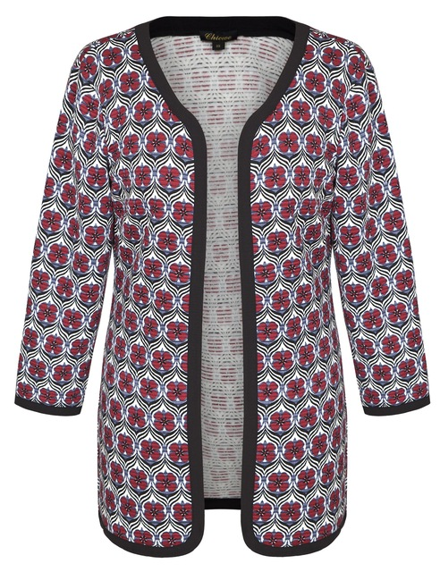 c5a1db14bc9 Chicwe Women s Floral Quilted Light Weight Plus Size Cardigan Jacket Large  Size Big Size1X-4X