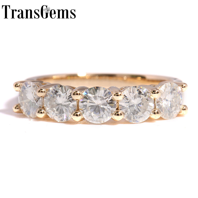 Transgems Solid 14K 585 Yellow Gold 1.25CTW 4mm F Color Moissanite Diamond Half Eternity Wedding Band Rings for Women Jewelry-in Rings from Jewelry & Accessories