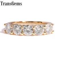 Transgems Solide 14K 585 Gelb Gold 1.25CTW 4mm F Farbe Moissanite Diamant Halb Eternity Hochzeit Band Ringe für frauen Schmuck