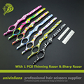 """7"""" 1pcs razor&thin blade professional hairdressing scissors barber scissors hairdresser razors scissors for thinning hair cut"""