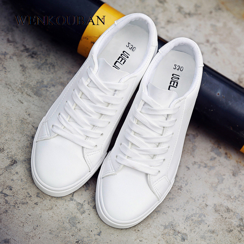 Women White Sneakers Tenis Feminino PU Leather Shoes Ladies Trainers Casual Flats Lace-Up Vulcanized Shoes Zapatillas Mujer 2020