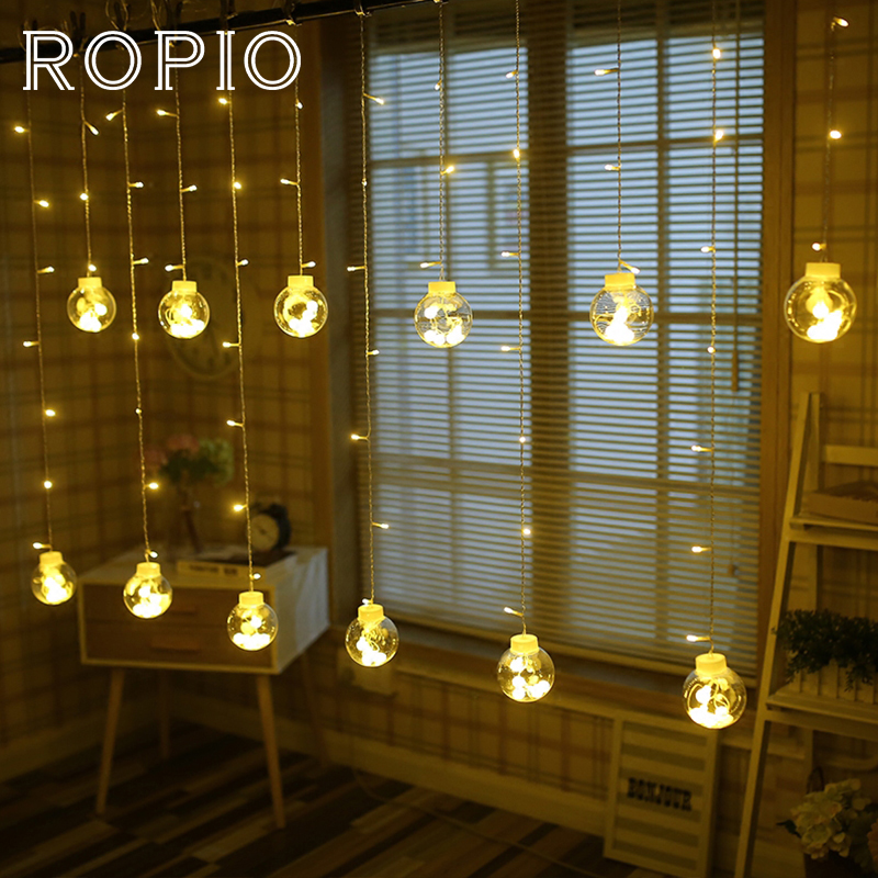 ROPIO 2.5x1m 108 LEDs Holiday Lighting 220V Wish Ball Globe LED Curtain String Fairy Light Backyard Patio Wedding Decoration