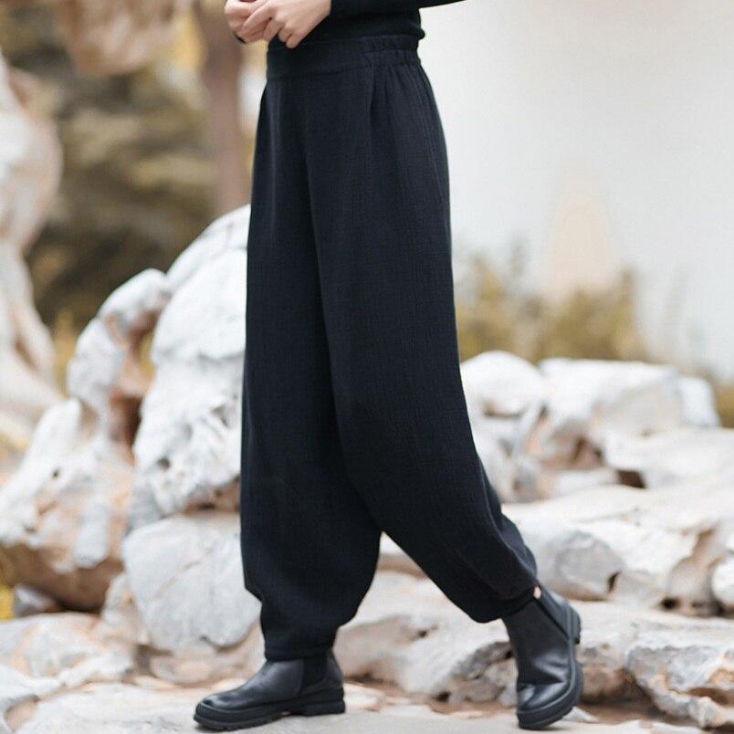 Delle Casual Molla Donne Del Nero Pantaloni Di Biancheria Allentato Matita Autunno Cotone M l Piedino Della Larghi Il Dei wW01qvXq
