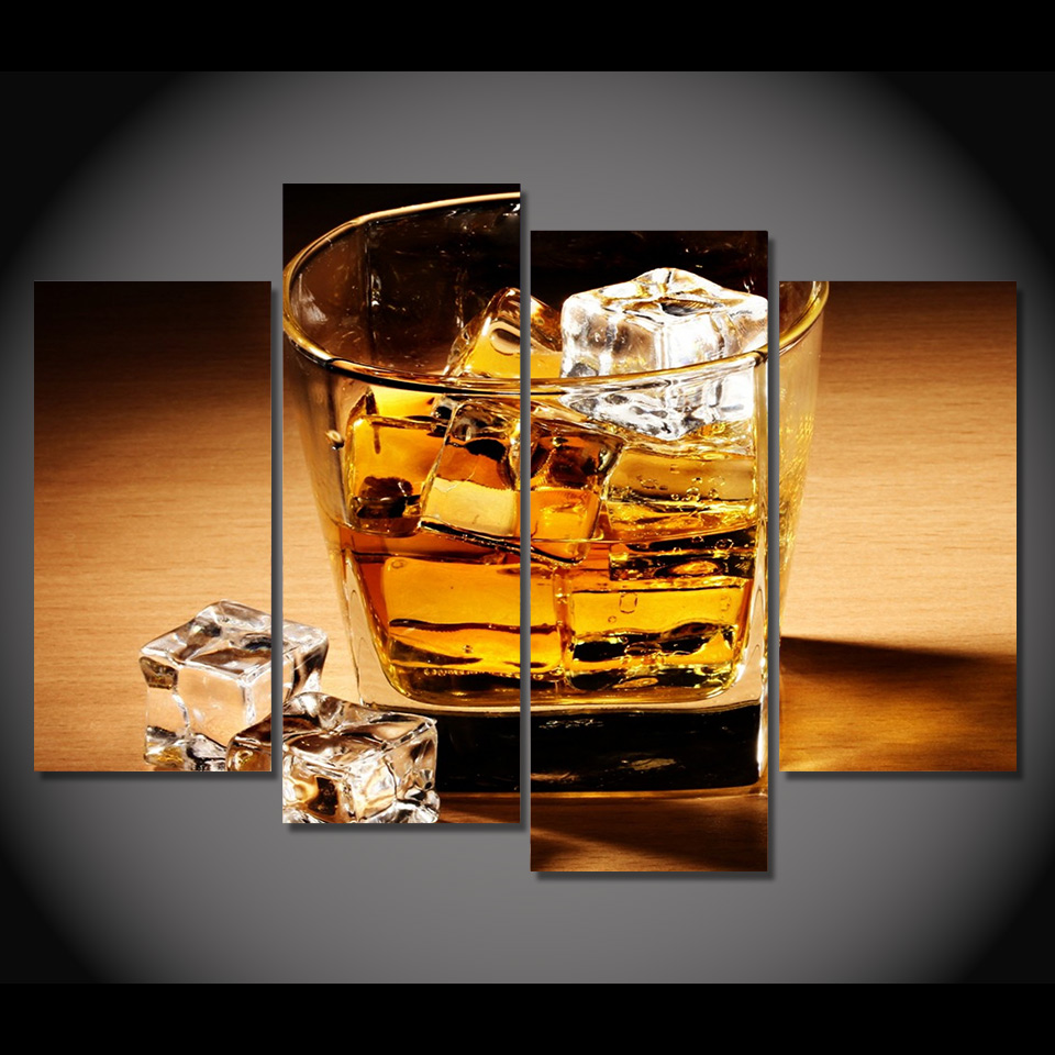 Print Canvas Painting Whiskey Drink Alcohol Ice Cubes