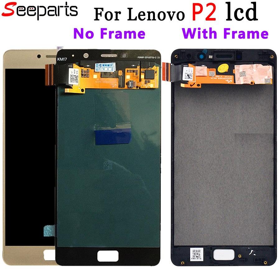 100% Nouveau Testé Pour 5.5 Lenovo Vibe P2 écran LCD ensemble numériseur à écran tactile Avec Cadre Pour Lenovo P2 P2c72 P2a42 LCD