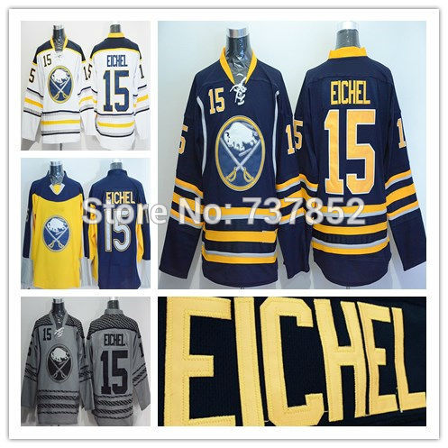 check out aecdb d9173 US $59.9 |2016 Men Cheap Buffalo Sabres 15 Jack Eichel Jersey Team Blue  Away White Yellow Stitched Eichel Ice Hockey Jerseys Free Shipping-in  Hockey ...