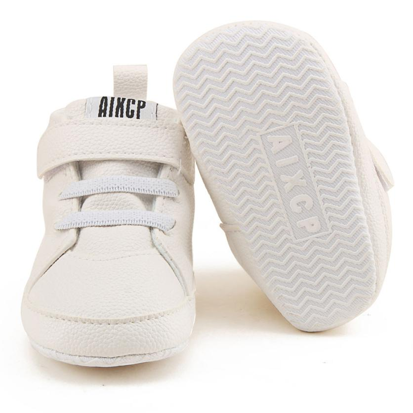 Toddler Girls Boys Crib Shoes Prewalker Soft Sole Sneakers UK F2