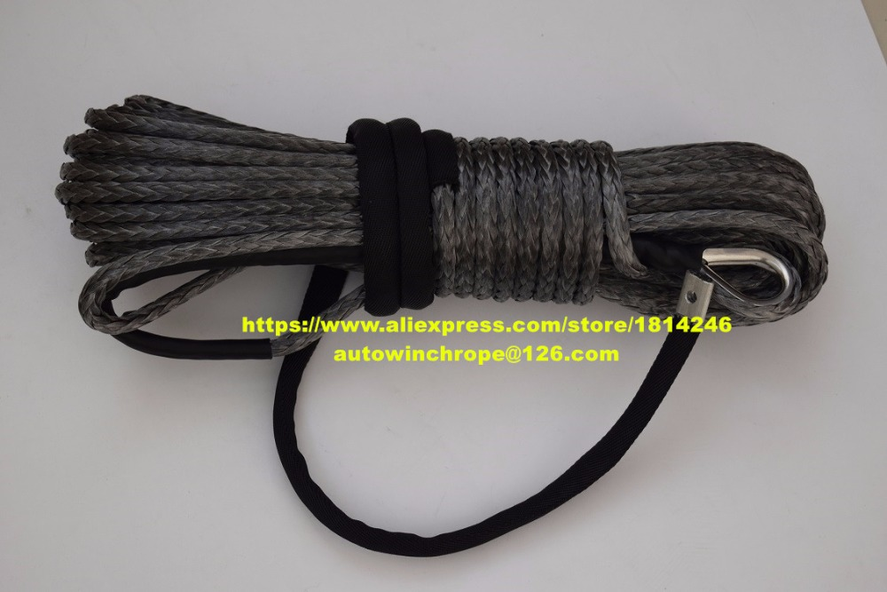 Grey 10mm*30m ATV Winch Line,Synthetic Winch Rope,3/8 x 100 Winch Cable,Boat Winch Rope